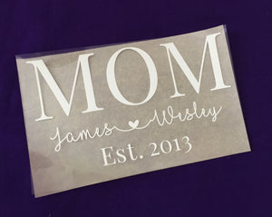 Personalized Mom Iron on Decal with Kids names Custom Iron on Transfer, Iron on decal, heat transfer, custom transfer - Kennie Blossoms
