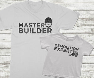 Father Son matching shirts Master Builder and Demolition Expert White Shirts - Kennie Blossoms