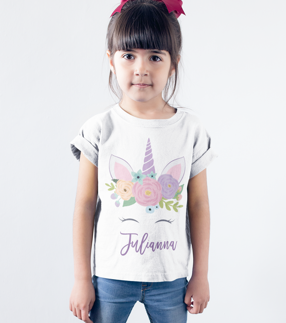 Personalized unicorn shirts for girls featuring her name - Kennie Blossoms