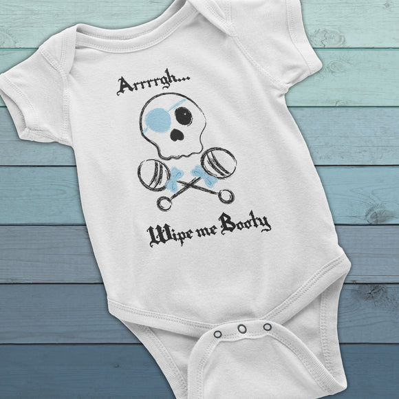 Wipe me Booty funny baby diaper shirt, Pirate Baby bodysuit, Baby Boy Onesie, Pirate clothes for boys, funny baby clothes, cute baby onesie - Kennie Blossoms