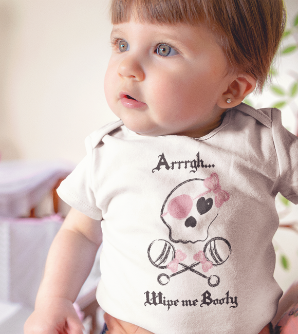Pirate Baby, Pirate Onesie, Wipe Me Booty Onesie, Baby girl pirate, Funny baby onesie, Baby Pirate Onesie, Pirate baby onesie - Kennie Blossoms