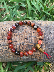 Fire agate wrist mala 8mm