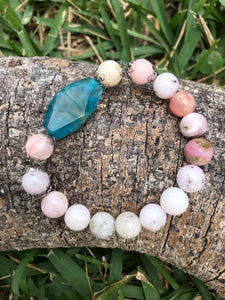 Pink Opal with Blue Agate  10mm