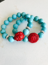 Turquoise Bracelet with Yin  / Yang Red Coral