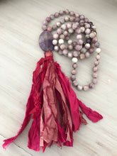Pink Tourmaline Mala with Sari Silk Tassel