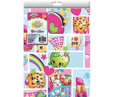 Shopkins - Collage Gift Wrap Folded- 9x13 - BRAND NEW
