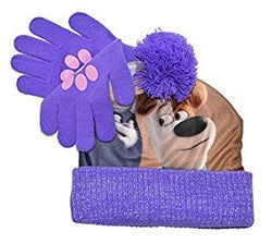 The Secret Life Of Pets of Chloe And Max Beanie Hat And Glove Set (One size, Purple)