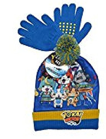 Yo -Kai Watch Posse Knit 2 Piece Hat & Glove Set (One size, Blue)