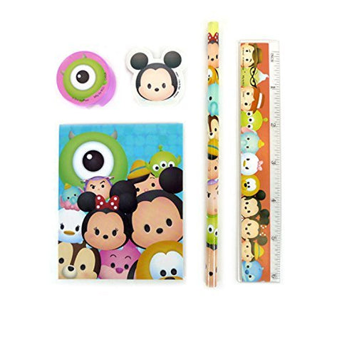 Disney Tsum Tsum 5pcs Stationery Set Notepad Ruler Eraser Pencil Pencil Sharpener