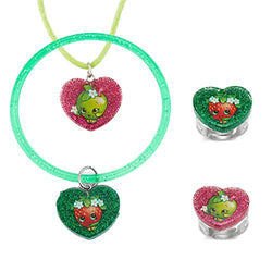 Shopkins Apple Blossom and Strawberry Kiss Glitter Heart Set of 4 (Pendant, Bangle and 2 Rings) - Assorted Characters
