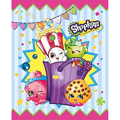 "Unique Industries (1) 8pc Set Shopkins Loot Bags/Treat Bags with Handle - Approx. 7.25"" x 9"" each"