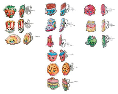 Shopkins Stainless Steel Trio Earrings Sets : Strawberry Kiss , Poppy Corn , Rainbow Bite + More !