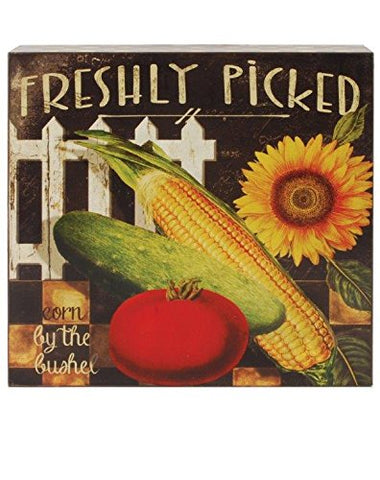 "Blossom Bucket 1566-39491"" Freshly Picked Veggie Sign, 8"""