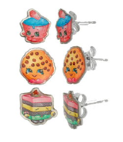 Shopkins Stainless Steel Trio Earrings Set: Cupcake Chic, Kooky Cookie, Le 'Quorice