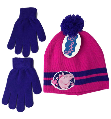 Peppa The Pig Girls 2 Piece Beanie Winter Hat and Glove Set Hot Pink and Purple