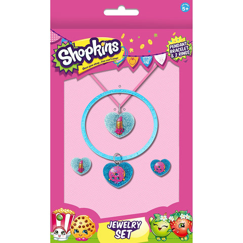 Shopkins Glitter Set of 4 (Pendant, Bangle and 2 Rings) - Assorted Characters