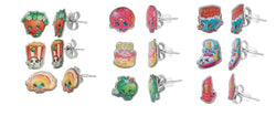Shopkins Stainless Steel Three Earrings Sets : Strawberry Kiss , Poppy Corn , Rainbow Bite and More !