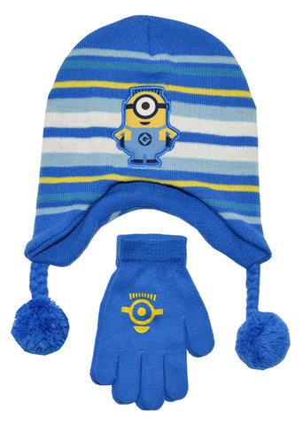 Despicable Me One Minion Hat and Glove Set (OS, Blue)