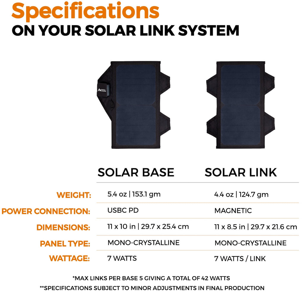 Solar Link System Specifications