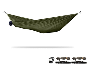 "xPlor | Pocket Camping Hammock for Compact ""Anywhere"" Comfort Hammock Sierra Madre Research Chive / Yes please"
