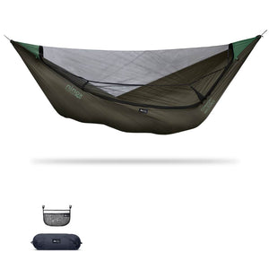 Ninox | Ultra-Comfy & Spacious Flat Lay Camping Hammock Camping System Sierra Madre Research Dark Earth / No I have suspension already / No I don't mind rain