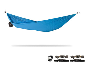 "xPlor | Pocket Camping Hammock for Compact ""Anywhere"" Comfort Hammock Sierra Madre Research Maliblue / Yes please"