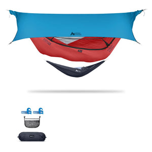 Ninox | Ultra-Comfy & Spacious Flat Lay Camping Hammock Camping System Sierra Madre Research Lava / Yes! I'd love a set! / Ocean