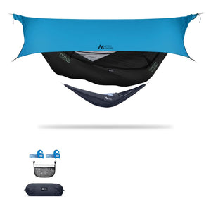 Ninox | Ultra-Comfy & Spacious Flat Lay Camping Hammock Camping System Sierra Madre Research Raven / Yes! I'd love a set! / Ocean