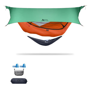 Ninox | Ultra-Comfy & Spacious Flat Lay Camping Hammock Camping System Sierra Madre Research Carrot / Yes! I'd love a set! / Green Spruce