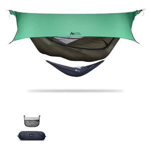 Ninox | Ultra-Comfy & Spacious Flat Lay Camping Hammock Camping System Sierra Madre Research Dark Earth / No I have suspension already / Green Spruce