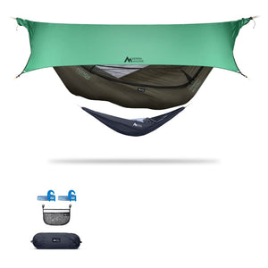 Ninox | Ultra-Comfy & Spacious Flat Lay Camping Hammock Camping System Sierra Madre Research Dark Earth / Yes! I'd love a set! / Green Spruce