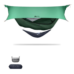 Ninox | Ultra-Comfy & Spacious Flat Lay Camping Hammock Camping System Sierra Madre Research Granite Green / No I have suspension already / Green Spruce