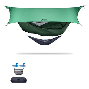 Ninox | Ultra-Comfy & Spacious Flat Lay Camping Hammock Camping System Sierra Madre Research Granite Green / Yes! I'd love a set! / Green Spruce