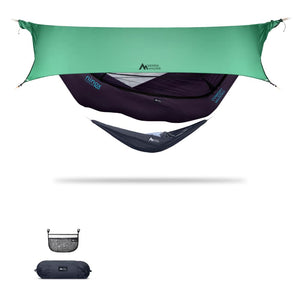 Ninox | Ultra-Comfy & Spacious Flat Lay Camping Hammock Camping System Sierra Madre Research Indigo / No I have suspension already / Green Spruce