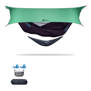 Ninox | Ultra-Comfy & Spacious Flat Lay Camping Hammock Camping System Sierra Madre Research Indigo / Yes! I'd love a set! / Green Spruce