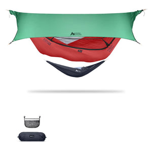 Ninox | Ultra-Comfy & Spacious Flat Lay Camping Hammock Camping System Sierra Madre Research Lava / No I have suspension already / Green Spruce