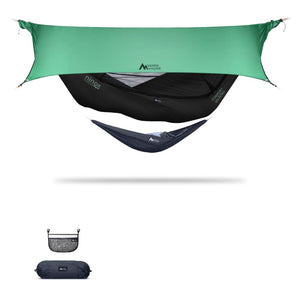 Ninox | Ultra-Comfy & Spacious Flat Lay Camping Hammock Camping System Sierra Madre Research Raven / No I have suspension already / Green Spruce