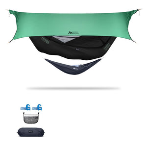Ninox | Ultra-Comfy & Spacious Flat Lay Camping Hammock Camping System Sierra Madre Research Raven / Yes! I'd love a set! / Green Spruce