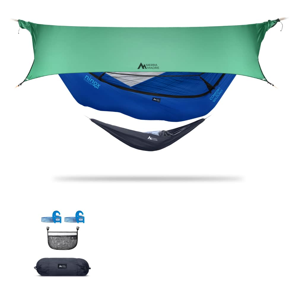 Ninox | Ultra-Comfy & Spacious Flat Lay Camping Hammock Camping System Sierra Madre Research Sky Dive / Yes! I'd love a set! / Green Spruce