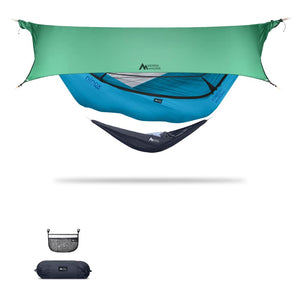 Ninox | Ultra-Comfy & Spacious Flat Lay Camping Hammock Camping System Sierra Madre Research Vivid Blue / No I have suspension already / Green Spruce