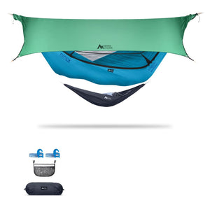 Ninox | Ultra-Comfy & Spacious Flat Lay Camping Hammock Camping System Sierra Madre Research Vivid Blue / Yes! I'd love a set! / Green Spruce