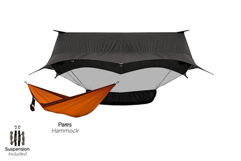 Hammock camping starter combo, complete with the best Hammock Shelter and the best Camping Hammock.