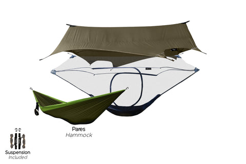 Hammock camping starter pack, complete with a Hammock Shelter and Camping Hammock.