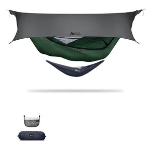 Ninox | Ultra-Comfy & Spacious Flat Lay Camping Hammock Camping System Sierra Madre Research Granite Green / No I have suspension already / Steel Grey