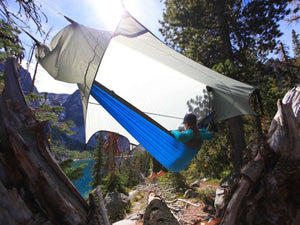 Stratos Fly protects any camping hammock from rain, wind, and sun, this is hammock camping over Colchuck lake in Washington!