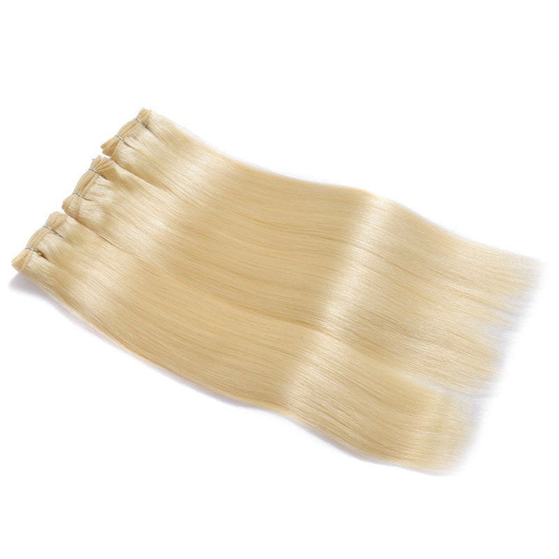 Women's gold Straight Silky Human Hair Wig Luxe 613 Blonde