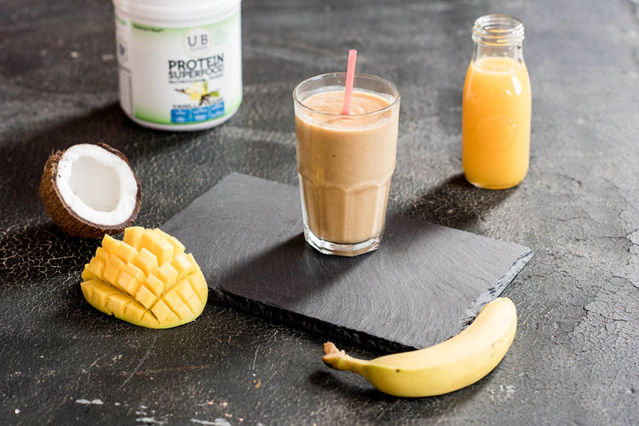 Vegan Banana Mango Protein Superfood Smoothie