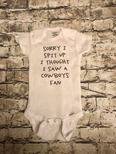 Sorry for the spit up, I thought I saw a Cowboys fan baby onesie//Gerber Onesie