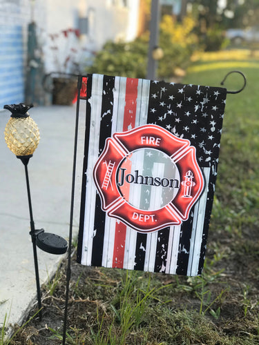 Custom garden flag, yard flag, Firefighter, Maltese Cross