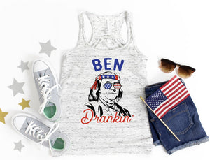 Ben Drankin' / Patriotic ladies tank top / American flag/ Fourth of July